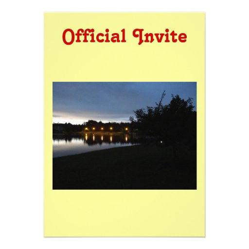 Streetlights Reflecting on the Lake Personalized Invite