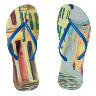 Streets of Italy Watercolour Flip Flop Thongs