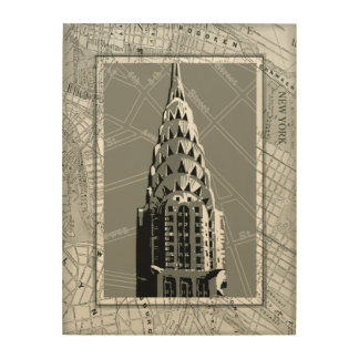 Streets of New York with Empire State Building Wood Wall Art