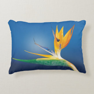 Strelitzia. Bird of paradise flower. Decorative Cushion