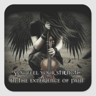 """""""Strength In Pain"""" Angel Square Sticker"""