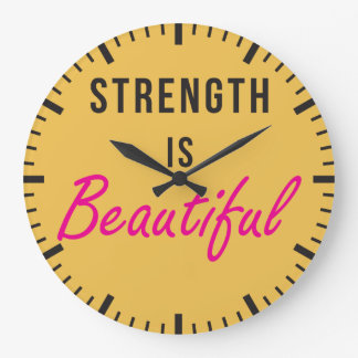 Strength Is Beautiful - Female Gym Motivation Large Clock