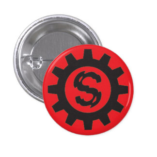 Stress 'cog' logo  button black on red