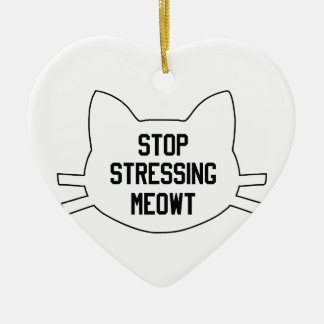 Stressing Meowt Ceramic Heart Decoration