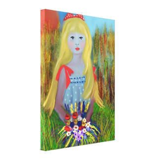 Stretched Canvas Print,Girl with basket of flowers