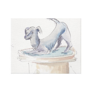 "Stretched Canvas ""Watercolor Sketch/Dog London"""