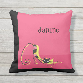 Stretching Black Striped Cat on Pink Outdoor Cushion
