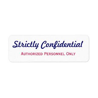 Strictly Confidential Label Return Address Label