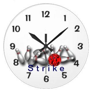 Strike Red Ball Bowling Wallclock