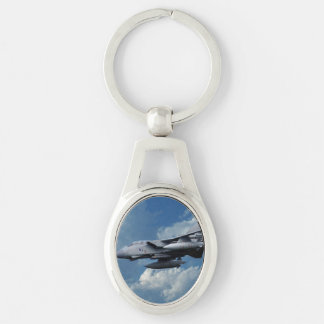 Strike Silver-Colored Oval Key Ring