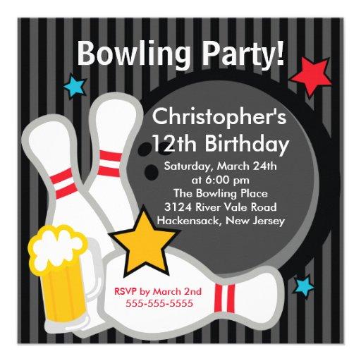 Strike up Fun Bowling Birthday Party Invitation