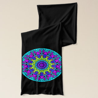 Strikiing turquoise and pink on a black scarf. scarf