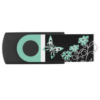 Striking aqua green butterfly and flowers swivel USB 3.0 flash drive