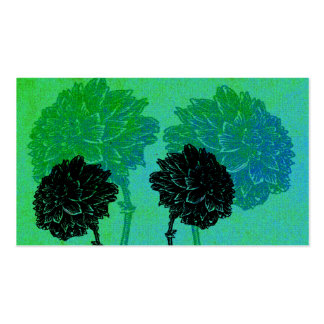 Striking Black Flowers on Turquoise Pack Of Standard Business Cards