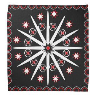 Striking black red grey and white patterned head kerchiefs