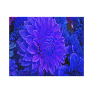 Striking blue and lavender tones, Dahlia Gallery Wrapped Canvas