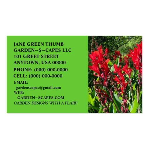 STRIKING CANNA BUSINESS CARDS ~ MAKE A STATEMENT!