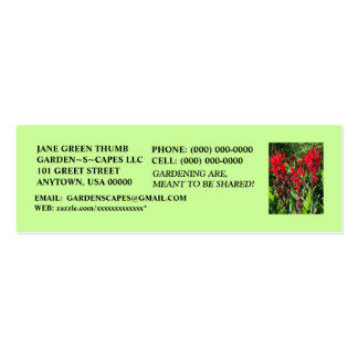 STRIKING CANNA PROFILE CARDS ~ MAKE A STATEMENT! PACK OF SKINNY BUSINESS CARDS