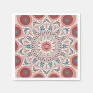 Striking Modern Kaleidoscope Mandala Fractal Art Disposable Napkin