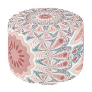 Striking Modern Kaleidoscope Mandala Fractal Art Pouf