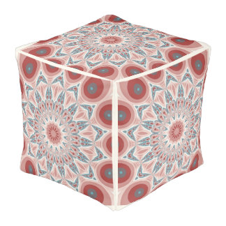 Striking Modern Kaleidoscope Mandala Fractal Art Pouf