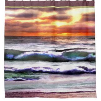 Striking Ocean Sunset at the Beach Shower Curtain
