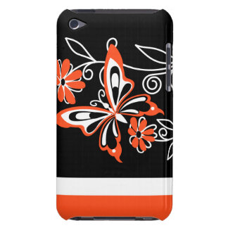 Striking Orange Butterfly and Flowers on Black Case-Mate iPod Touch Case