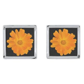 Striking Orange Dahlia Flower Cufflinks Silver Finish Cufflinks
