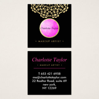 Striking Pink Gold Black Classy Beauty Makeup Square Business Card