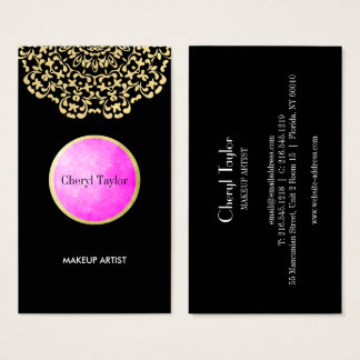 Striking Pink Gold Black Classy Personalized Business Card