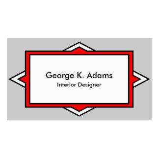 Striking Simple Red Gray Art Deco Designer Pack Of Standard Business Cards