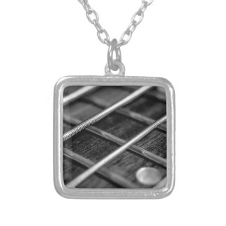 String Bass Guitar Music Rock Sound Instrument Silver Plated Necklace