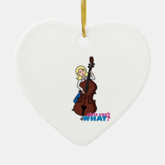 String Bass Player Girl - Light/Blonde Ceramic Ornament