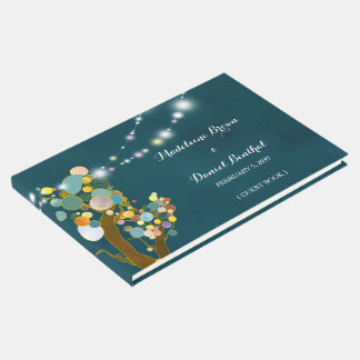 String Light Trees Teal Wedding Guest Book