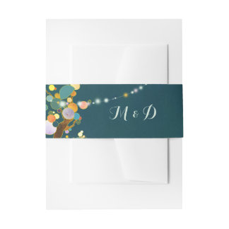 String Light Trees Teal Wedding Invitation Belly Band