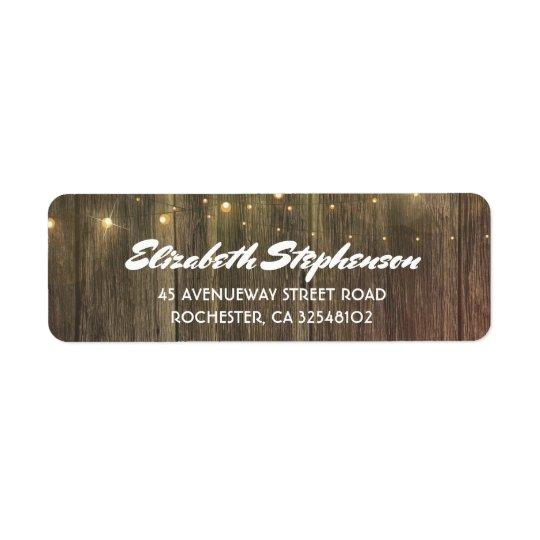String lights and Barn wood Rustic Return Address Label