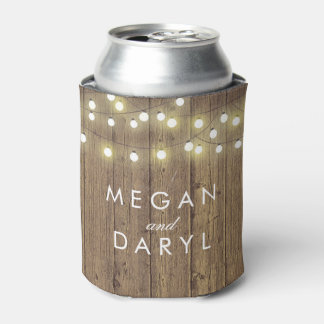 String Lights and Barn Wood Wedding Can Cooler