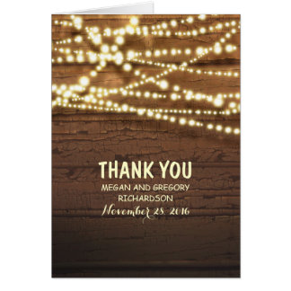 String Lights and Barn Wood Wedding Thank You Card