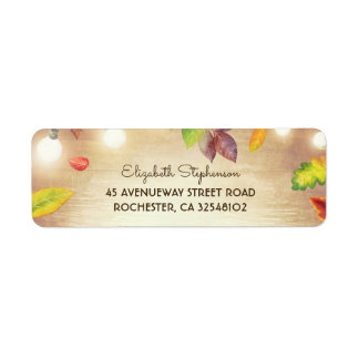 String Lights and Fall Leaves Rustic Wood Return Address Label