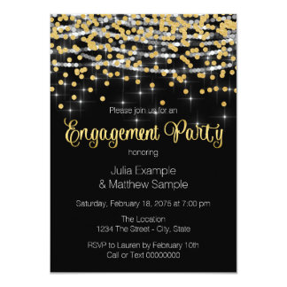 """String Lights and Gold Confetti Engagement Party 4.5"""" X 6.25"""" Invitation Card"""