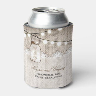 String Lights and Mason Jar Rustic Burlap Can Cooler