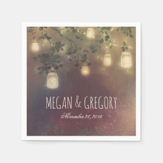String Lights and Mason Jars Rustic Country Disposable Napkin
