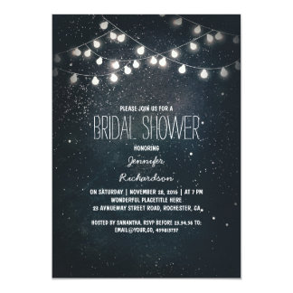 string lights and night sky stars bridal shower 13 cm x 18 cm invitation card