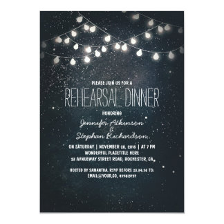string lights and night sky stars rehearsal dinner card