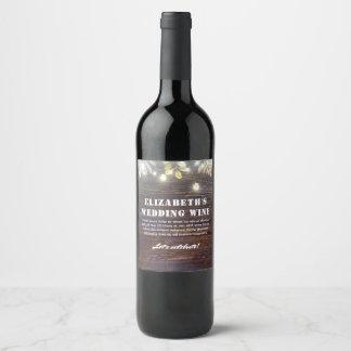 String Lights and Rustic Wood Barn Wedding Wine Label