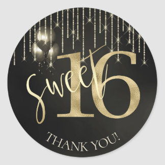 String Lights & Balloons Sweet 16 Black/Gold ID473 Classic Round Sticker