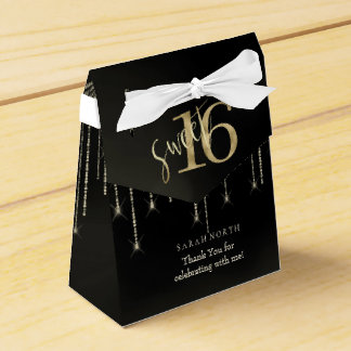 String Lights & Balloons Sweet 16 Black/Gold ID473 Favour Box