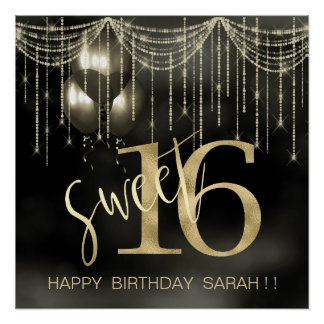 String Lights & Balloons Sweet 16 Black/Gold ID473 Poster
