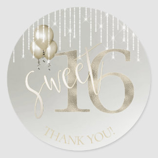 String Lights & Balloons Sweet 16 Champagne ID473 Classic Round Sticker