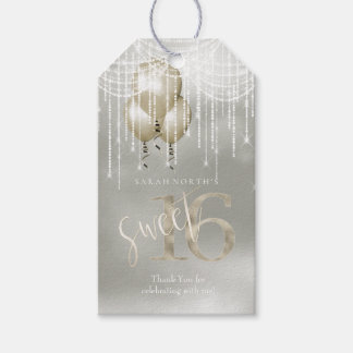 String Lights & Balloons Sweet 16 Champagne ID473 Gift Tags